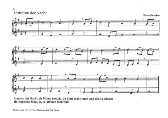 Leichte Weihnachtslieder.Pan Verlag
